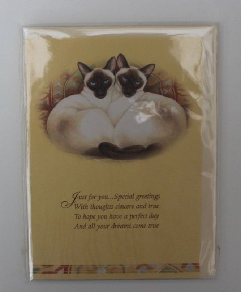 SIAMESE CAT CARD with a have a perfect day greeting
